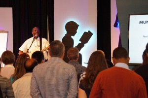 Pastor George Ndhawa (Kenya) leads Collaborate in worship, teaching global leaders a song in Swahili!